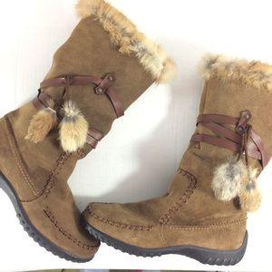 Rieker wedge suede fur trim moc toe pompom boots
